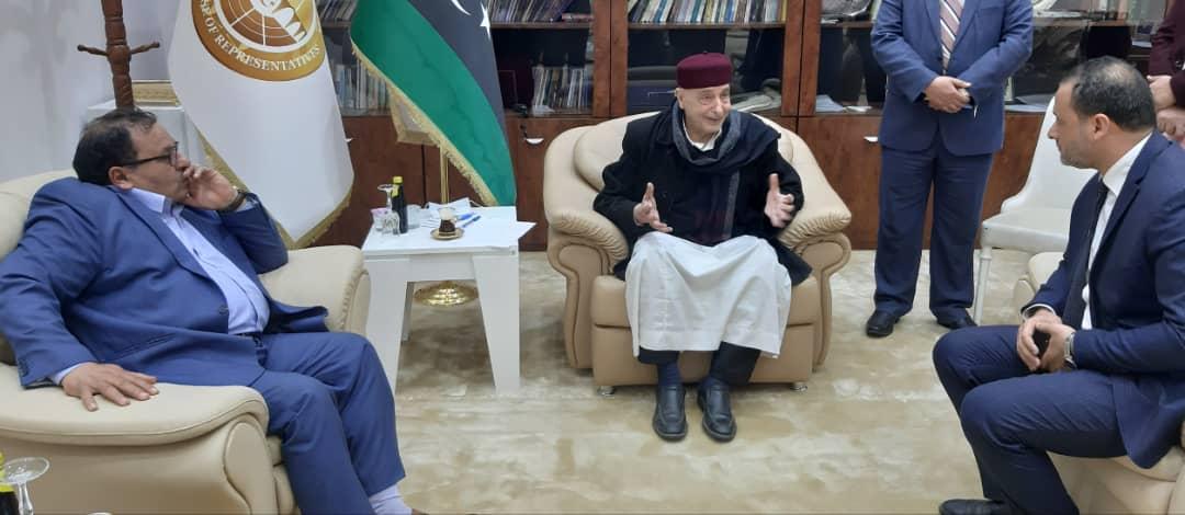 المستتشار عقيلة صالح يجتمع  مع وزير التعليم العالي ورئيس جامعة بنغازي